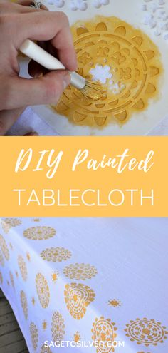 DIY stenciled tablecloth Related posts: DIY Farmhouse Table with Extension Leaves (with Plans 41 Cool DIY Hacks for Summer Christmas Presents To Make, Christmas Gifts For Parents, Christmas Diy, Tablecloth Fabric, Tablecloth Ideas, Christmas Table Cloth, Diy Farmhouse Table, Easy Diy Gifts, Stencil Diy