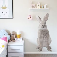 Large Bunny Interior Wall Decal by GingerMonkey0 on Etsy