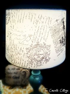DIY French script lampshade and other lampshade ideas.