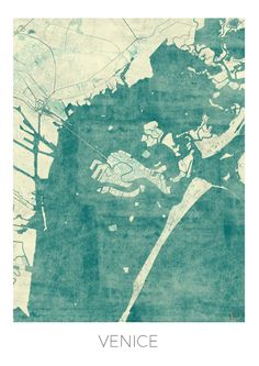 Venice Map Blue Vintage Art Print by City Art Posters | Society6