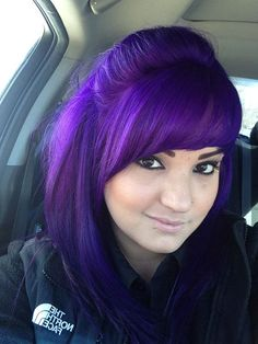 Cute deep purple hairstyle with bangs
