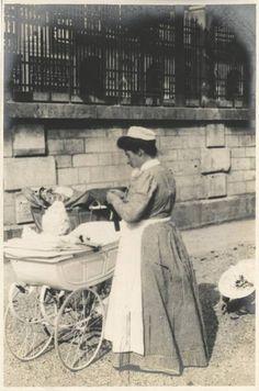 Nursemaid with baby in pram, taken by Linley Sambourne 5 June 1906.