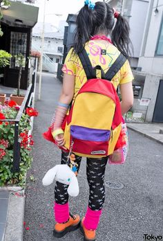 Colourful backpack and cinnamoroll - Japanese fashion