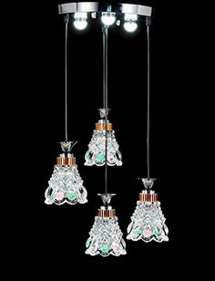 New Galaxy Modern LED Chandelier Chrome Finish Glass Shade 4light Hanging Pendant Ceiling Lamp Fixture Bulbs Included 8992 -- For more information, visit image link.