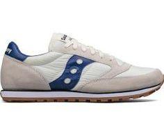 {S2866-227} Men's Saucony Jazz Low Pro Sneaker Cream White/Blue