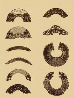 Patterns of ancient Chinese jade ornaments Chinese Patterns, Japanese Patterns, Japanese Prints, Chinese Element, Chinese Art, Asian Sculptures, Fan Tattoo, Japanese Tree, Tatuagem Old School