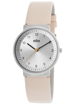 Image for Women's Classic Beige Genuine Leather Silver-Tone Dial from World of Watches