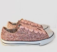 $15 OFF with code: PINNED15 Women's Sparkly Rose Gold Pink Glitter CONVERSE All Stars Bride Wedding Shoes sneakers