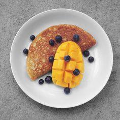 grain-free pancake, mango, blueberries. paleo, gluten-free