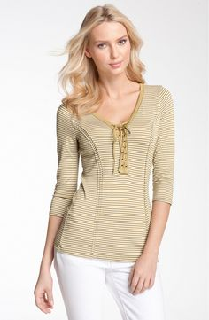 Pleione Lace-Up Stripe Top