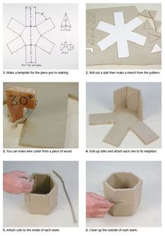 Ceramic Arts Daily – How to Handbuild a Hexagonal Jar Using a Template Pottery Techniques, Hand Building pottery, ceramics tutorials, step by step Don Hall shows how to make a slab-clay hexagonal box, with a hexagonal lid (formed from triangles). Hand Built Pottery, Slab Pottery, Pottery Art, Ceramic Pottery, Ceramics Projects, Clay Projects, Clay Crafts, Ceramic Techniques, Pottery Techniques