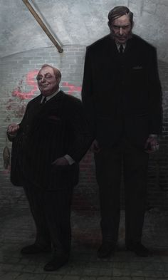 """Croup and Vandemar, ultra-dangerous denizens of Neil Gaiman's alternate London underground in his extremely excellent book """"Neverwhere"""". The Old Firm Character Concept, Character Art, Old Firm, Vampire Masquerade, Call Of Cthulhu, World Of Darkness, Pulp, Neil Gaiman, London Underground"""