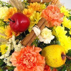 Flowers - Cinnamon Spiced Apple Wrap & Chocolates www.eden4flowers.co.uk