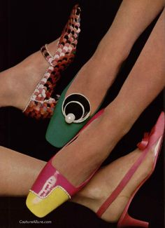Shoes by Dior, Jourdan and Vivier, 1966.