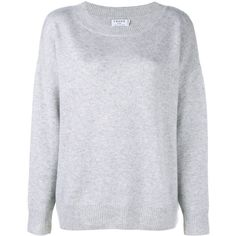 Frame Denim Le Boy Cashmere Sweater ($545) ❤ liked on Polyvore featuring tops, sweaters, frame denim, relax shirt, round neck shirt, grey sweaters, long sleeve sweater and long sleeve shirts