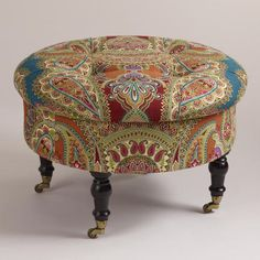 Sweet and sophisticated, #WorldMarket's vibrant round Lucille Ottoman attracts attention in any room. Crafted of hardwood with polyester blend upholstery in our exclusive Venetian paisley pattern, it features brass-finished metal casters on the legs and a lift-off top for extra storage.