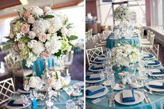 Summer wedding, cream, champagne with pops of blue Glen Island Harbour Club  Diana Gould ltd