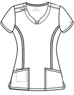 Certainty Women's Round Neck Top Cherokee Uniforms, Stylish Scrubs, Scrubs Uniform, Greys Anatomy Scrubs, Clothing Sketches, Medical Scrubs, Nursing Dress, Fashion Design Sketches, Outfits