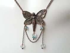 Butterfly Fairy Necklace  Copper Chain Aquamarine by seemomster