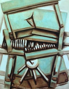 Tommervik Abstract Cubism Piano Painting -piano art