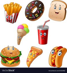 Fast food cartoon collection set vector image on VectorStock Free Vector Images, Vector Free, Food Snapchat, Food Cartoon, Luxury Food, Lose Weight At Home, Hygiene, American Food, Fun Cooking