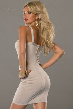 Dresswe.com SUPPLIES Charming Apricot Strap Hollow-Out Sleeveless Bodycon Dress Little Party Dress (3)