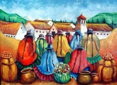 Mis_pinturas Mexican Paintings, Peruvian Art, Latino Art, Southwestern Art, Color Pencil Art, China Painting, Mexican Art, People Art, Illustrations And Posters