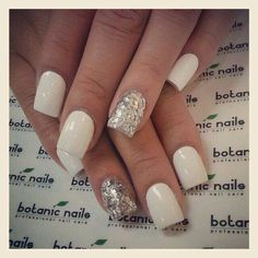 Snow bunny nails! Gotta have the sparkle!