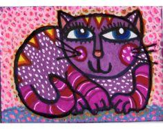 Cat Childrens Room Print, Cat Print, Nursery Room Print, Girls Room Decor, Pink Cat Art, Kids Wall Art by Paula DiLeo