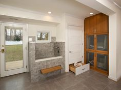 Mudroom With Dog Kennel and Spa | HGTV