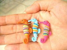 Rainbow Seahorses Miniature Crochet Amigurumi Stuffed