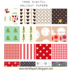 MeinLilaPark – DIY printables and downloads: Free digital Christmas scrapbooking papers - Weihnachtspapier - round-up