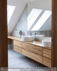 Realizacja łazienki   a właściwie salonu kąpielowego i dwie piękne umywalki misowe.  Kto chciałby takie lustro?     Projekt: Atelier Lillet Karolina Lewandowska #projektowanie #wnętrz w #szczecin   48 601 285 703 biuro@lillet.pl   #love my #job    #łazienka #bathroom #minimalizm  #design #designer #interior #interiordesigner #dom #decor #home #followme #followforfollow #project #designinterior #designstudio #designlovers Loft Ensuite, Attic Bathroom, Upstairs Bathrooms, Attic Design, Interior Design, Reclaimed Wood Vanity, Loft Conversion Bedroom, Beautiful Bathrooms, Little Houses