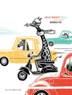 The giraffe chooses a moped because he can't fit into the other animals cars.  Luckily, he's just going to get some ice cream