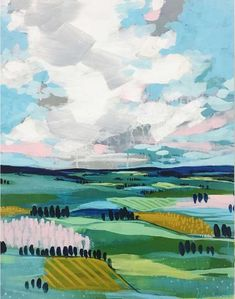 Clair Bremner - Pastures by Clair Bremner., Painting For Sale at Abstract Landscape Painting, Landscape Art, Landscape Paintings, Abstract Art, Acrylic Paintings, Painting Inspiration, Art Inspo, Guache, Mountain Paintings