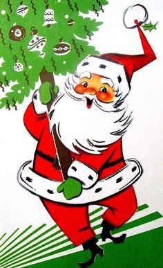 vintage Christmas mid-century modern Santa with tree Vintage Christmas Images, Old Christmas, Old Fashioned Christmas, Retro Christmas, Vintage Holiday, Christmas Classics, Christmas Artwork, Christmas Windows, Christmas Graphics