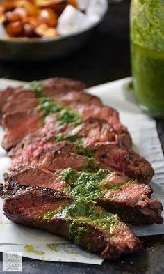 Pan-Seared Steak with Chimichurri sauce | by Life Tastes Good is an easy to make dinner any night of the week! Flat-iron steak is one of the most flavorful cuts, and it is more budget-friendly than some other popular cuts, which makes it a great choice for WeekdaySupper! #LTGrecipes