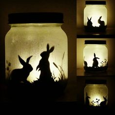 Please be aware that all items are made to order and can take up to 2 weeks to be conpleted. Please contact me if you need your item by a specific date Own your very own bunny rabbits with this bunny jar night light. They are lit with electric tea lights so are easy to maintain and it gives a flickering candle effect. The jar is hand etched to give a frosted effect and also has a layer of glitter which is hard to see in the photos. I can personalise designs if you have something ...