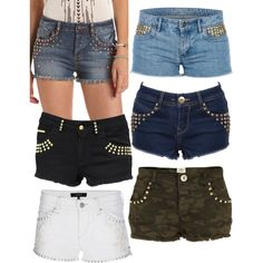 """""""Studded shorts blue black white denim summer casual"""" by laura-blakney on Polyvore lots of shorts options! camo camouflage studs details distressed summer options"""