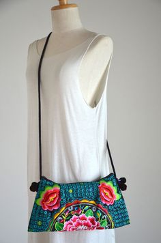 Thai Hmong Hill Tribe Sling Bag Boho Flower Hearts by Dollypun