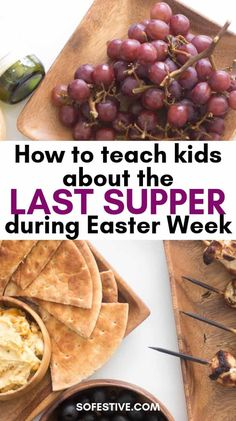 Easy, family-friendly Last Supper menu, recipes, and printable discussion cards to help teach children about Christ's Last Supper during Easter week. Holy Week Activities, Easter Activities, Passover And Easter, Tenis Nike Air, Passover Recipes, Passover Food, Resurrection Day, Easter Crafts, Easter Ideas