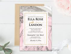 Modern Marble Watercolor Invitation  Pink and Gray