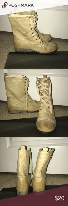 Tan/Cream Combat Boots Size 7/8 Used tan, distressed, lace up, combat boots size 7/8 (M) from Rue 21, only worn a few times. Rue 21 Shoes Combat & Moto Boots