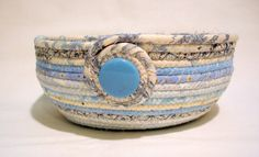 Coiled Fabric Bowl Baby Blue Coiled Fabric Basket by zizzybob ♡♡