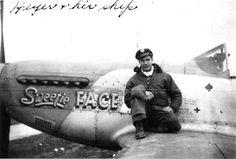 "Lt. Sheldon Heyer. 487th Fighter Squadron. P-51D 44-14151 HO-N ""Sweetie Face""."