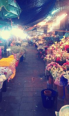 24 Hours Flower Market. Bangkok Thailand.  It's a unique flower market from all over the world.  Especially orchid is a major market for selling with various types of orchid