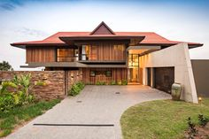 Contemoprary house located on the Dolphin Coast, in South Africa, designed by Metropole Architects. Design Entrée, House Design, Contemporary Architecture, Architecture Design, Contemporary Design, Parquet Chevrons, Retreat House, Entrance Design, Beautiful Interior Design