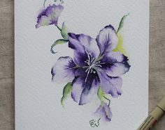 Purple Clematis Flower Watercolor Painted Card- Original or Print