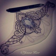 Tatoo Henna, Underboob Tattoo, Lace Tattoo, Mandala Tattoo, Jewel Tattoo, Tattoo Moon, Lotus Mandala, Sternum Tattoo Design, Gem Tattoo