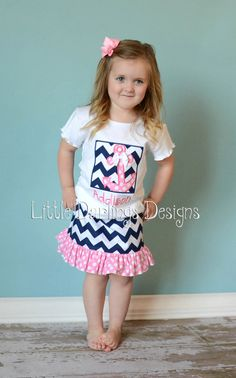 Sassy Girls Personalized Anchor Shirt  Navy by LilDarlingsDesigns, $24.00